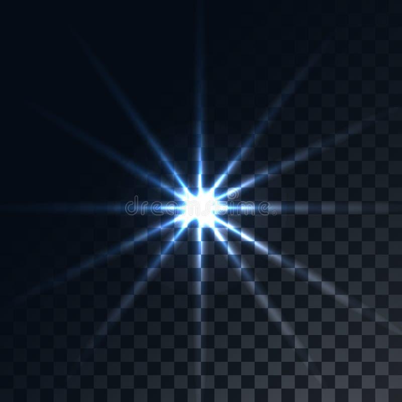 Голубой накаляя прозрачный солнечный луч, вспышка, самое интересное лучей энергии, звезда на просвечивающей темноте в checkered ч иллюстрация штока