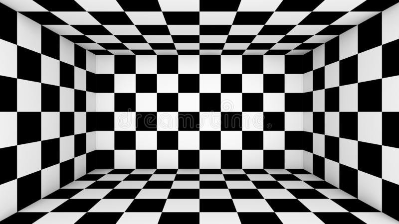 Checkered empty room. Abstract wallpaper, black and white flooring illusion pattern texture background. 3d squares illustration.  stock illustration