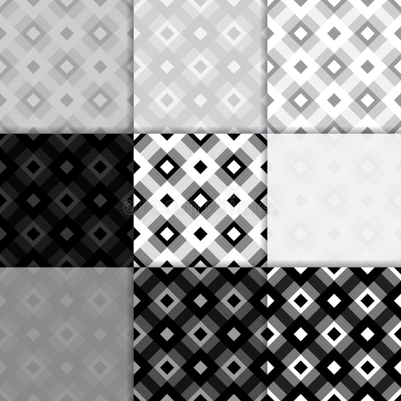 Checkered fabric background. Black and white seamless pattern vector illustration