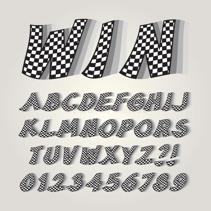 Checkered Flag Alphabet and Numbers stock image
