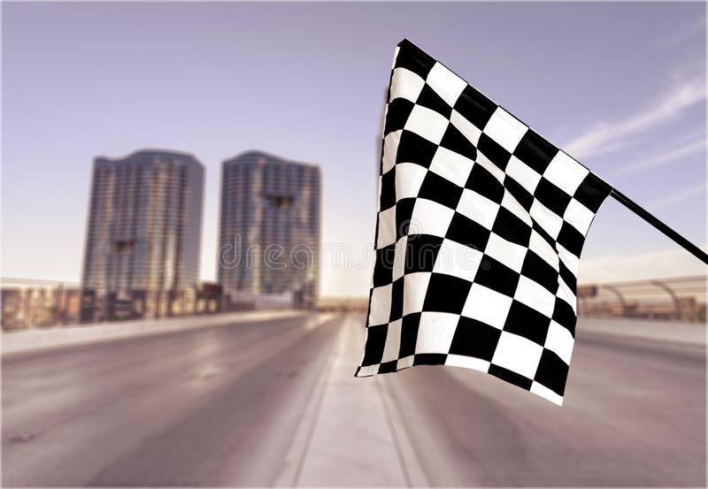 Checkered Flag. Flag Auto Racing Starting Line Sports Race Speed Motorized Sport stock photo