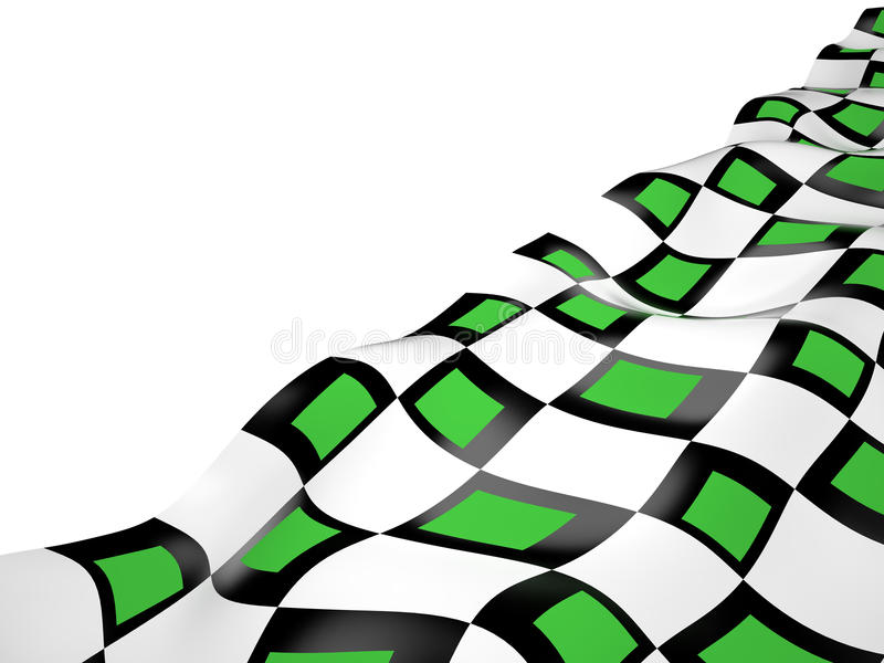Checkered flag, 3D. Abstract checkered colored flag, 3D rendering image stock illustration