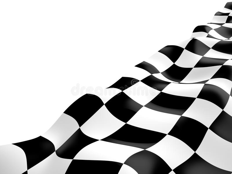 Checkered flag, 3D. Checkered flag with black and white squares, 3D stock illustration