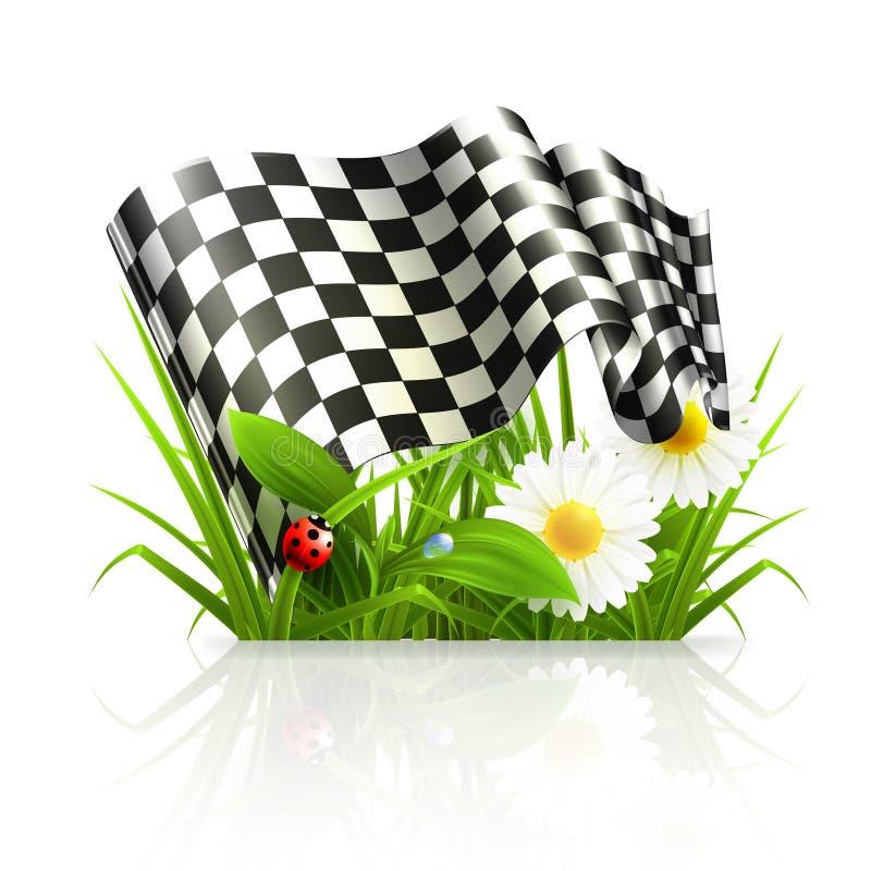 Checkered flag in grass stock illustration