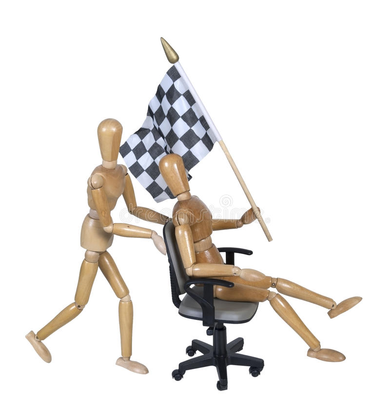 Checkered Flag On Office Chair Races Royalty Free Stock Photos
