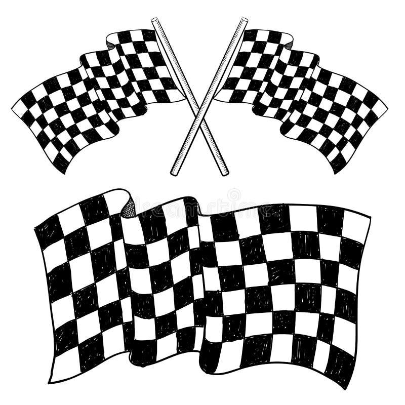 Checkered flag sketch stock illustration