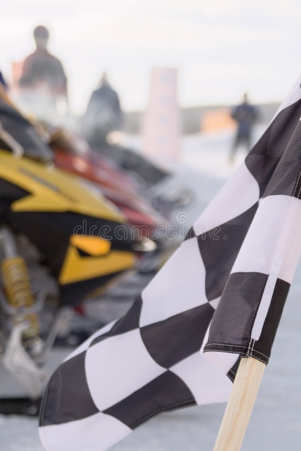 Download Checkered Flag Snowmobile Race Stock Photo - Image: 4830456