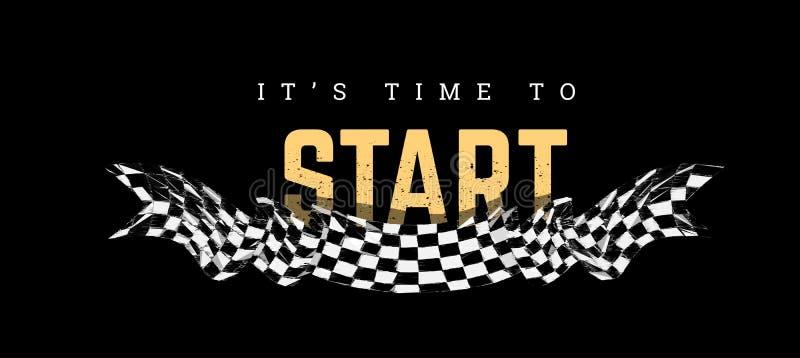 Checkered flag with the word Start. T-shirt design on black stock illustration