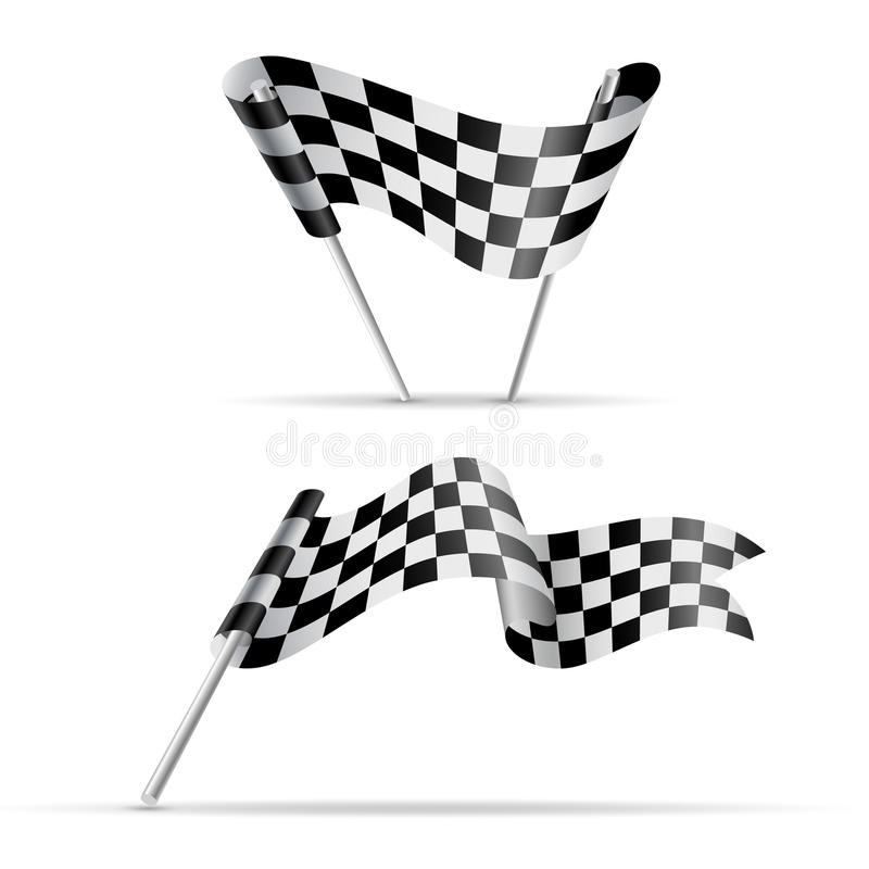 Checkered flags. Black and white sport banner royalty free illustration