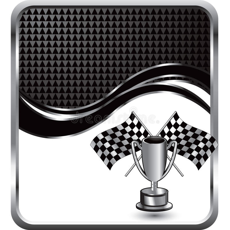 Checkered flags and trophy on wave background vector illustration