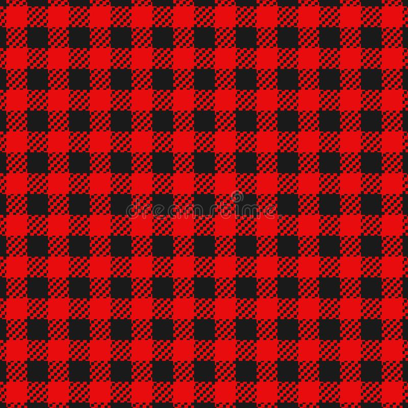 Checkered flannel plaid seamless pattern. Checkered flannel plaid black and red colors seamless pattern for clothing or background vector illustration
