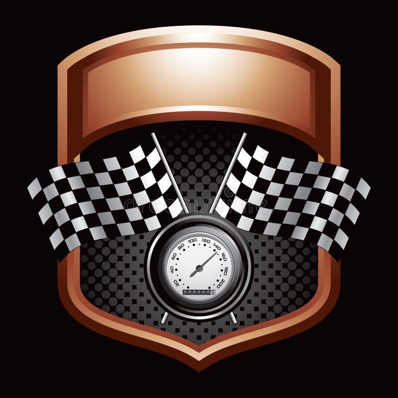 Checkered Markierungsfahnen und Geschwindigkeitsmesser auf Bronzebildschirmanzeige lizenzfreie abbildung