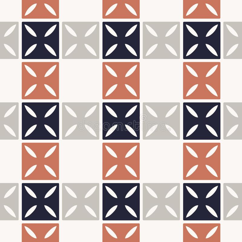Checkered pattern. Vector seamless background with squares and crossed abstract elements royalty free illustration