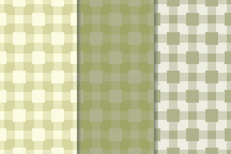 Checkered plaid fabric background. Olive green seamless pattern royalty free illustration