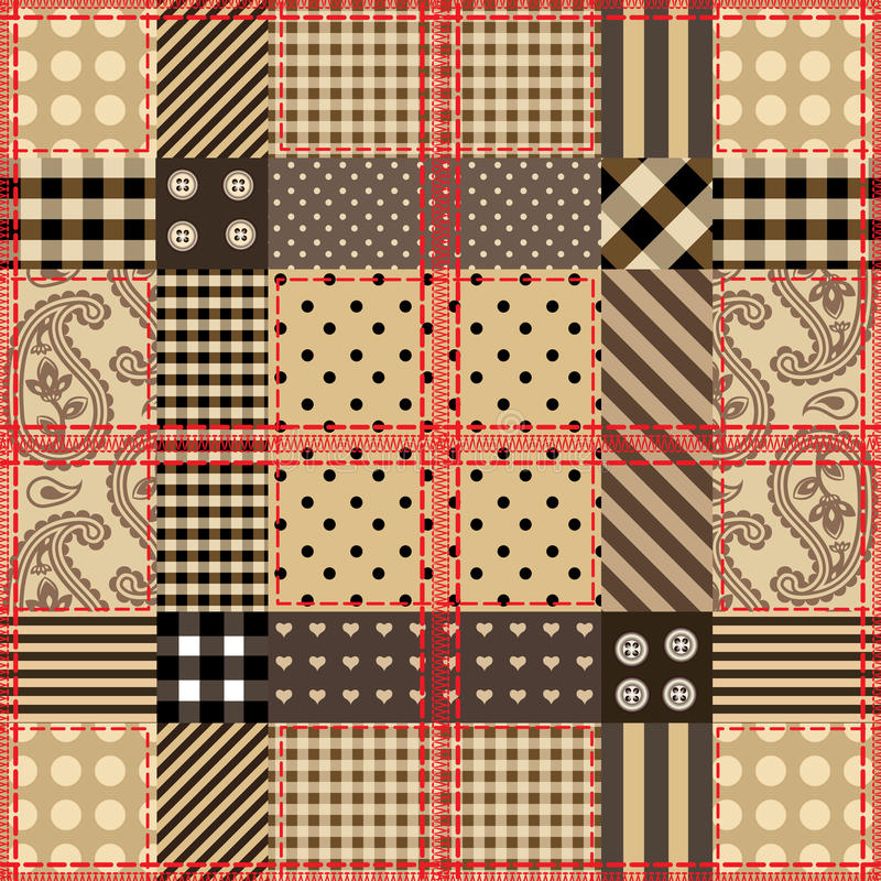 Checkered quilting design. Seamless background pattern. Will tile endlessly. Checkered quilting design stock illustration
