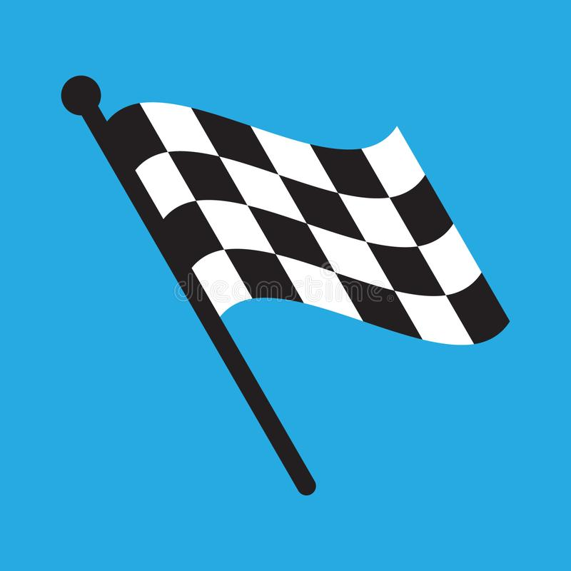 Checkered Racing flag isolated on blue. Vector illustration isolated on white background stock image