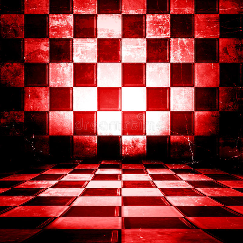 Checkered Room. Red And White Checkered Grunge Room