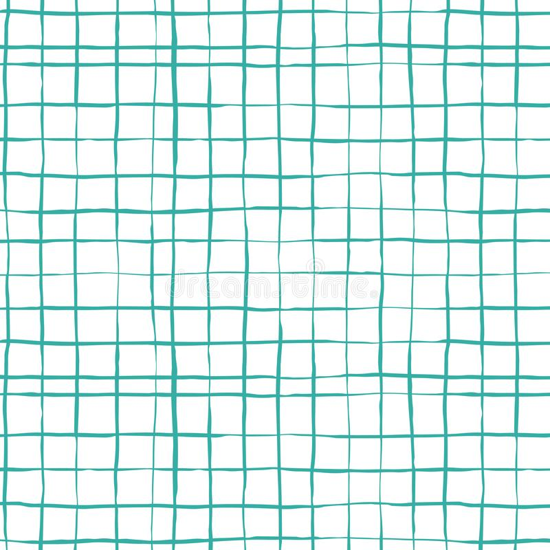Checkered seamles pattern. Vector pattern in hand drawn style. Blue lines on a white background vector illustration