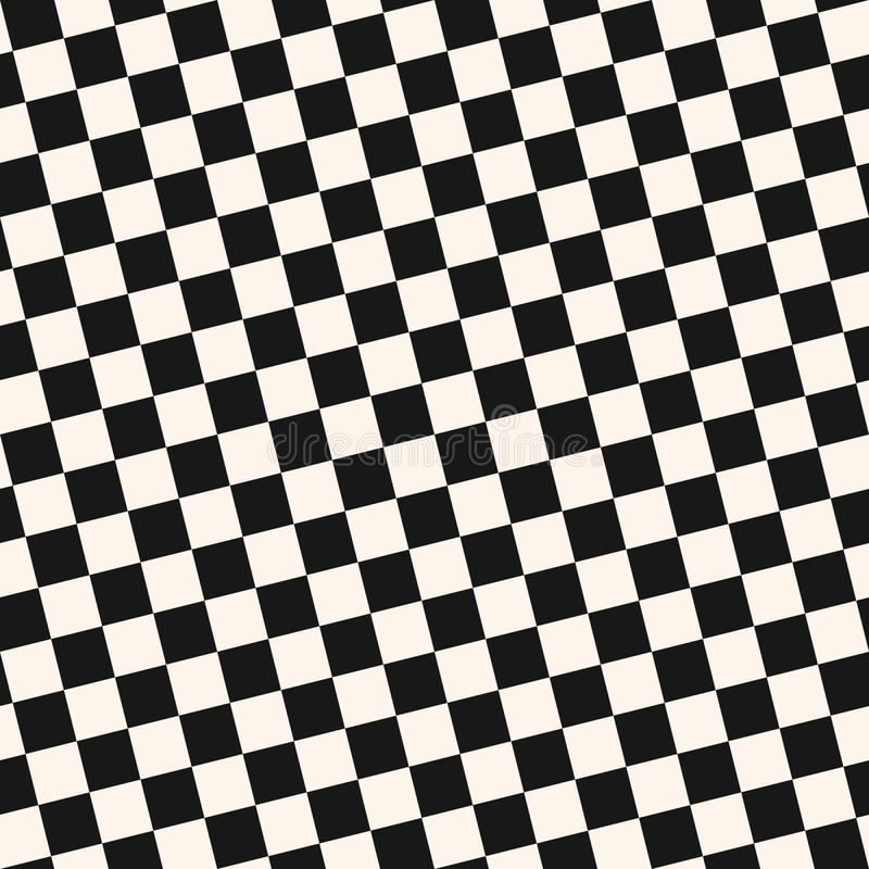 Diagonal checkered seamless pattern. Black and white vector geometric texture stock illustration
