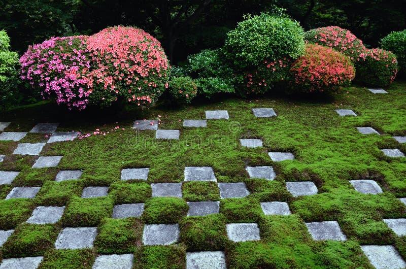 Checkered stone garden and azalea in Kyoto, JAPAN. royalty free stock photo