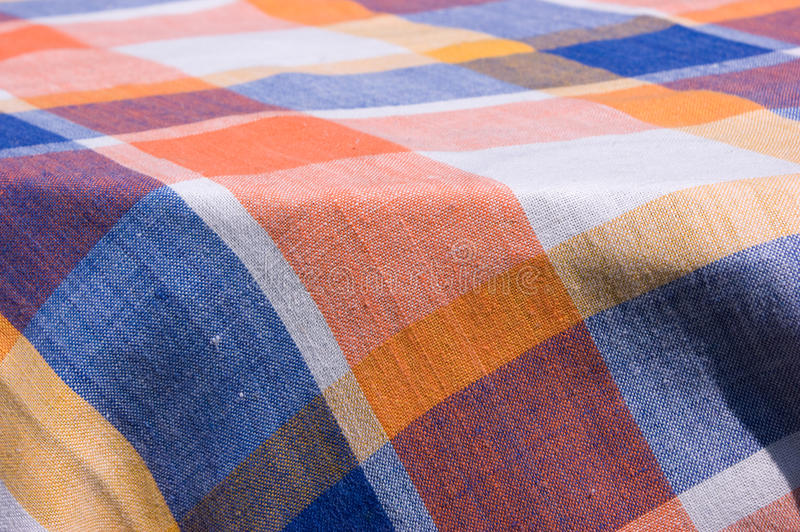 Checkered table cloth stock image