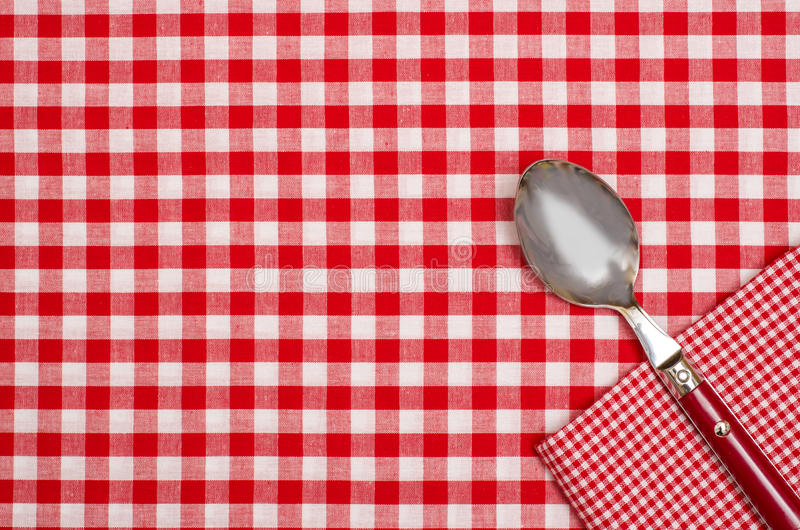 Download Checkered Table Cloth With Red And White Checks And A Spoon Stock Image - Image: 33264491