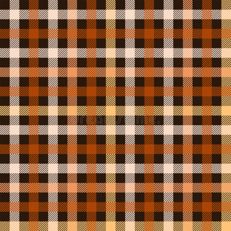 Checkered tartan fabric seamless pattern in brown and orange, vector royalty free illustration