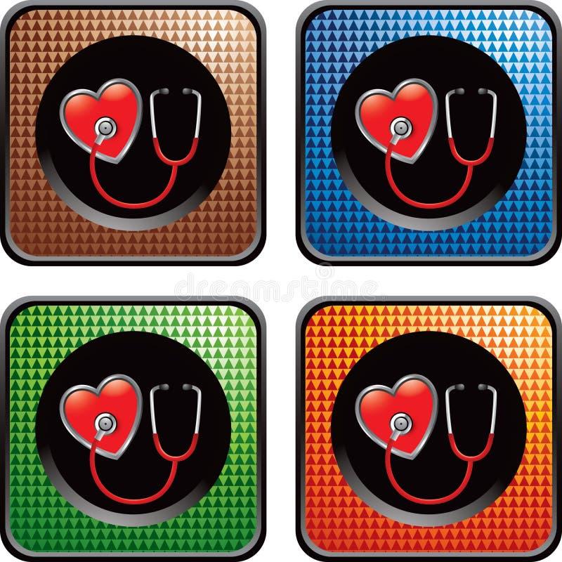 Checkered Web-Ikonen mit Stethoskop auf Innerem vektor abbildung
