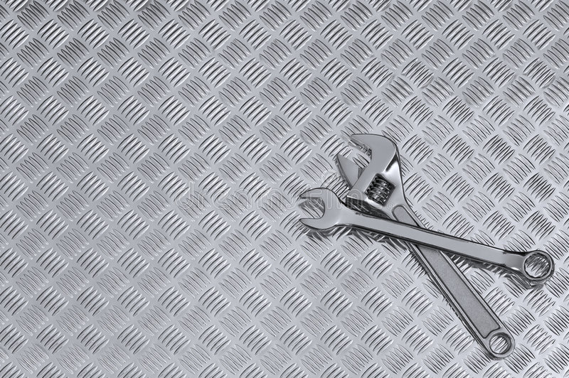 Download Checkerplate And Wrenches Background Stock Image - Image: 6268337