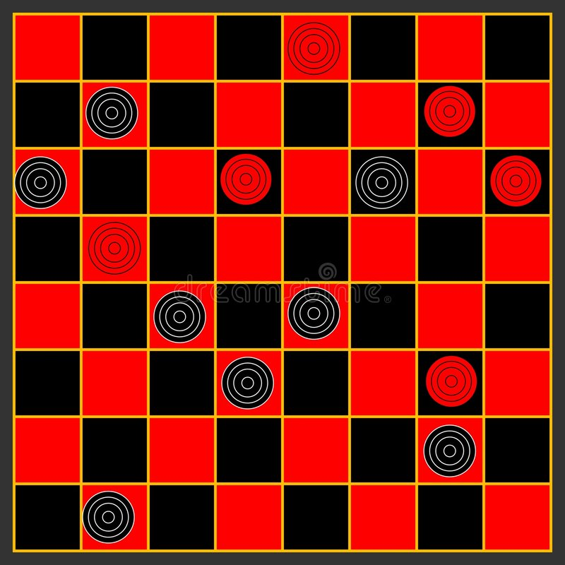Checkers. A game of checkers or draughts design stock illustration