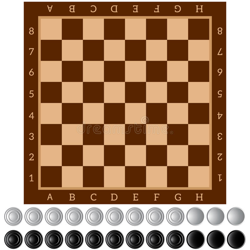 Checkers. Ancient Intellectual board game. Chess board. White and black chips. Isolated objects. Vector Image vector illustration