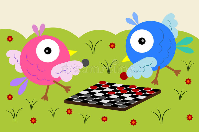 Checkers for the birds. Two cartoon birds playing checkers on the grass vector illustration