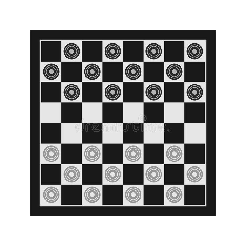 Checkers. Classic checkers vector illustration. Table game vector picotgram. Chess board icon with figures royalty free illustration