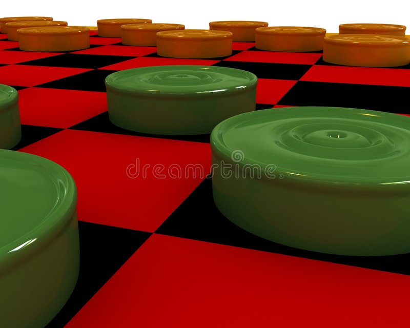 Checkers close-up. Orange and green checkers on a checker-board stock illustration