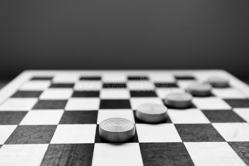 Checkers game. In black & white royalty free stock images