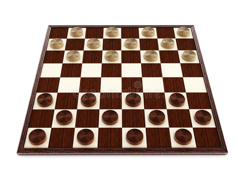 Checkers game board and pieces. 3D illustration.  vector illustration