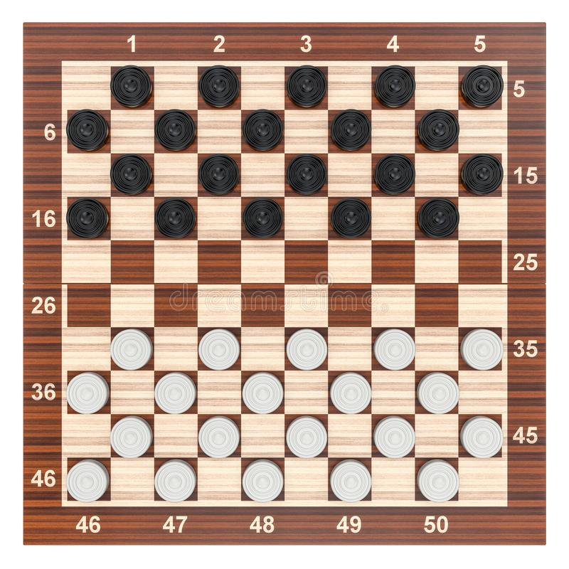Checkers game board and pieces, top view. 3D rendering. Checkers game board and pieces, top view. 3D stock illustration