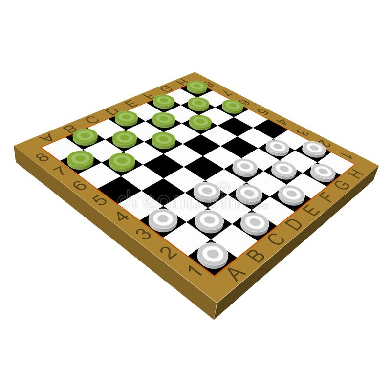 Checkers game 3D. Isometric isolated stock illustration