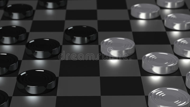 Checkers Game Modern Board. With Metallic Pieces stock illustration