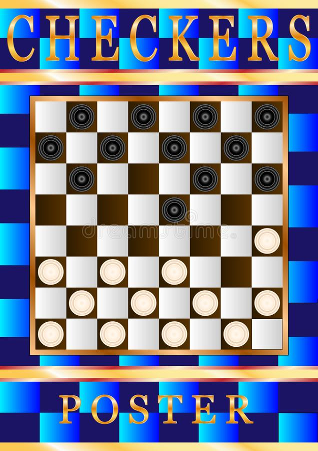 Checkers game poster design. Sport cover template. royalty free illustration