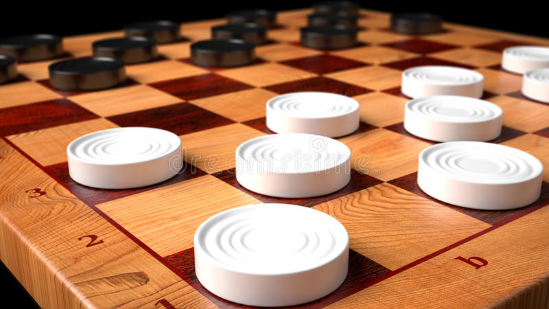 Checkers Game Wooden Board. From Top view stock illustration