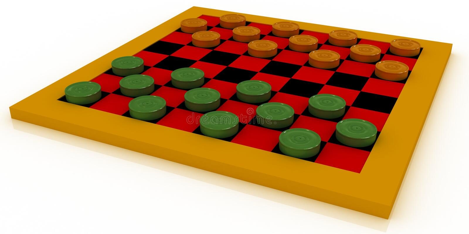 Checkers isolated on white, ma. Orange and green checkers on a checker-board, isolated on white vector illustration