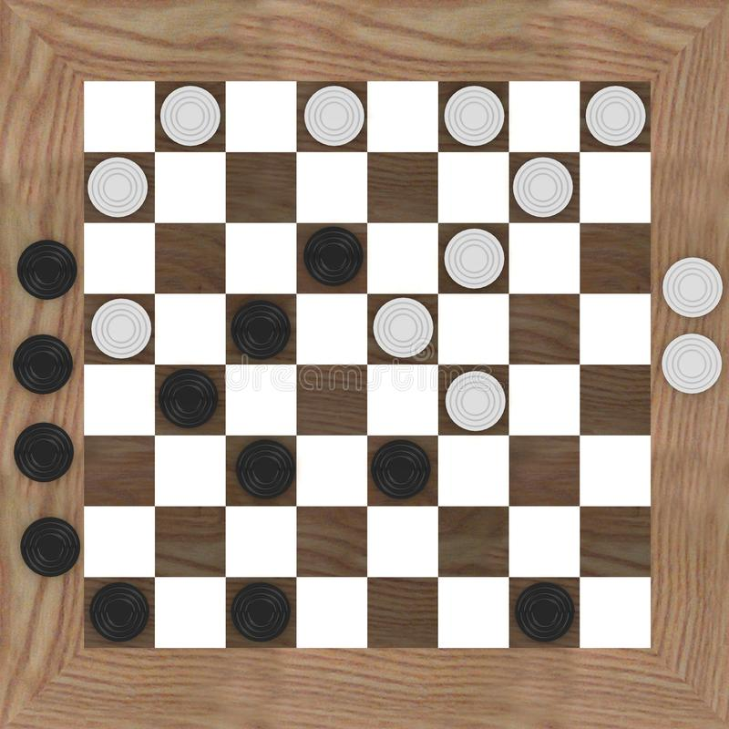 Checkers (top). 3d render of checkers game (top stock illustration