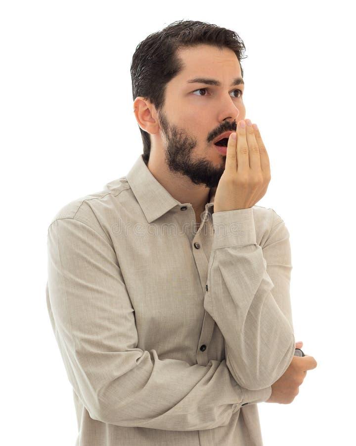 Checking bad breath. Halitosis concept. royalty free stock photography