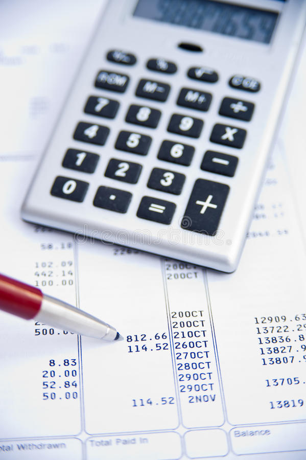 Checking a bank statement. stock photography
