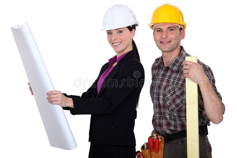 Checking The Blueprints Stock Photo