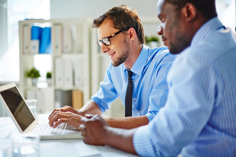 Checking business data royalty free stock photo