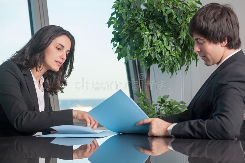 Checking a contract stock image