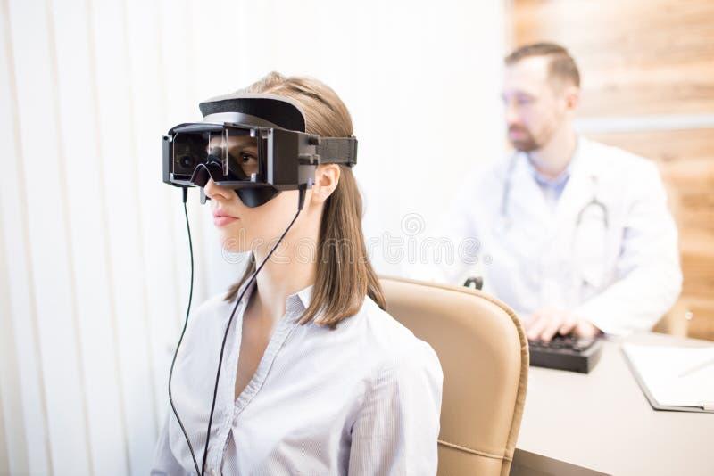 Checking eyesight stock image