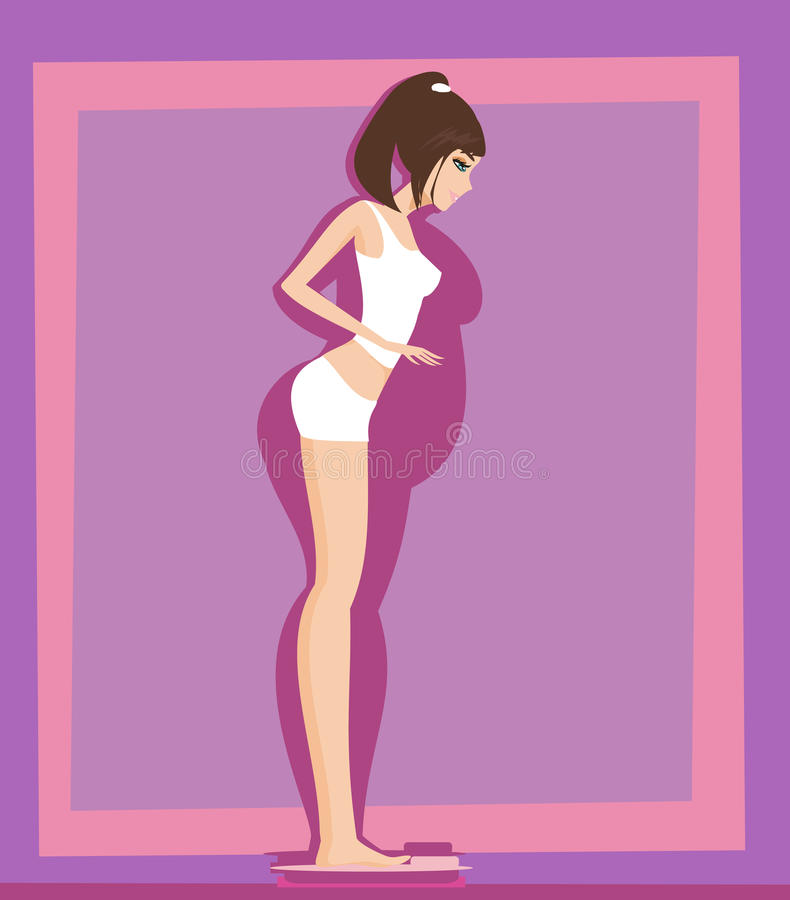 Checking her weight on scales vector illustration